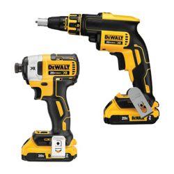 DEWALT 20V MAX XR Li-Ion sans fil pour cloison sèche sans fil Li-Ion Combo Pistolet à vis et tournevis à percussion (2 outils) avec (2) piles 2Ah et chargeur