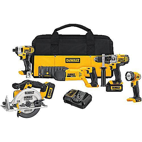 20V MAX 5 Tool  (DCD985, DCF885, DCS380 Recip, DCS391 Circular, DCL040) with 2 Batteries (3.0Ah) and Bag