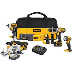 DEWALT 20V MAX 5 Tool  (DCD985, DCF885, DCS380 Recip, DCS391 Circular, DCL040) with 2 Batteries (3.0Ah) and Bag