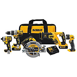 DEWALT 20V MAX XR 5 Tool  (DCD996, DCF887, DCS367, DCS570, DCL040) with 2 Batteries (5.0Ah) and Bag