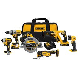 DEWALT 20V MAX XR Li-Ion Brushless Cordless Combo Kit (6-Tool) w/ Hammer Drill, (2) Batteries 5.0Ah, Charger and Bag