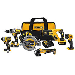 DEWALT 20V MAX XR 6 Tool  (DCD996, DCF887, DCS367, DCS570, DCG413, DCL040) with 2 Batteries (5.0Ah) and Bag