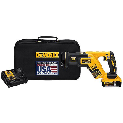 DEWALT 20V MAX XR Li-Ion Cordless Brushless Compact Reciprocating Saw Kit w/ Battery 5Ah, Charger and Contractor Bag