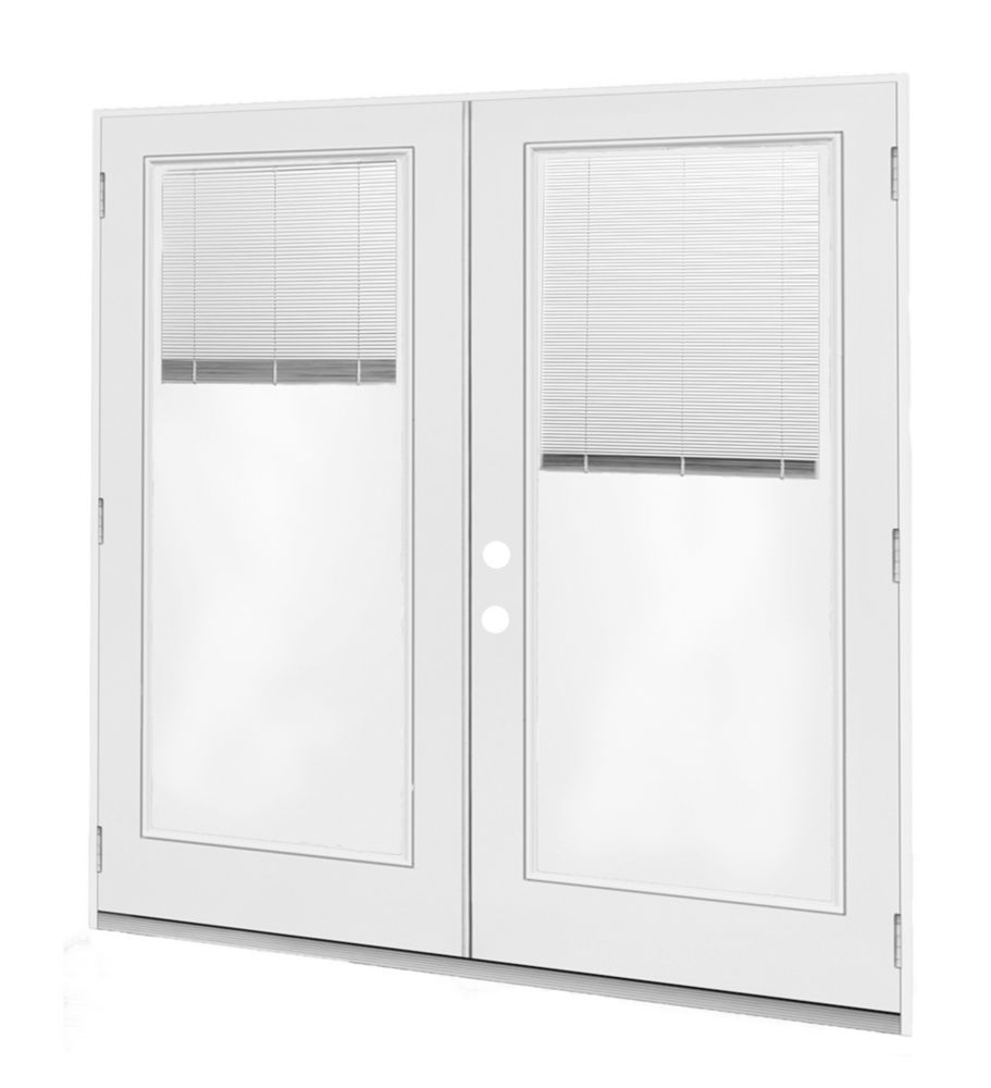 Jeld wen windows doors 5 ft french door rh outswing - Outswing exterior french doors with blinds ...