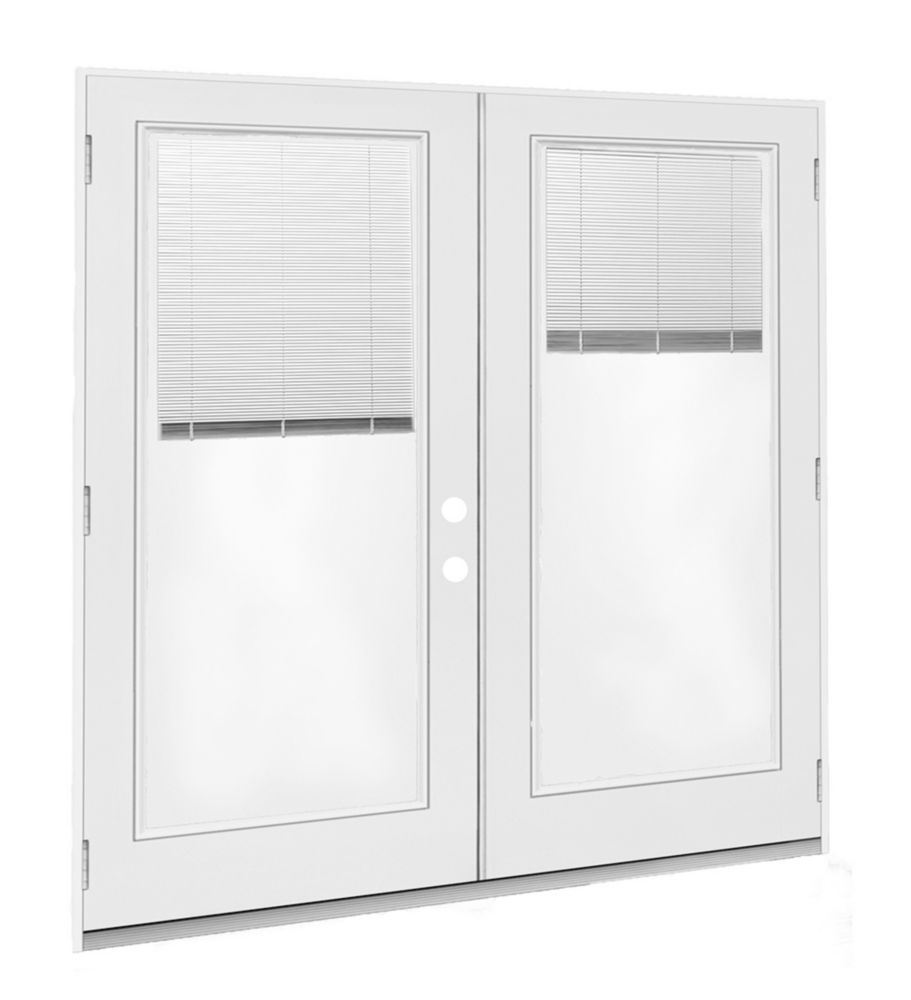 Jeld wen windows doors 6 ft french door lh outswing - Outswing exterior french doors with blinds ...