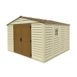 Duramax Woodbridge Plus 10.5 ft.W x 10.5 ft.D Fire Retardant Vinyl Plastic Resin Shed