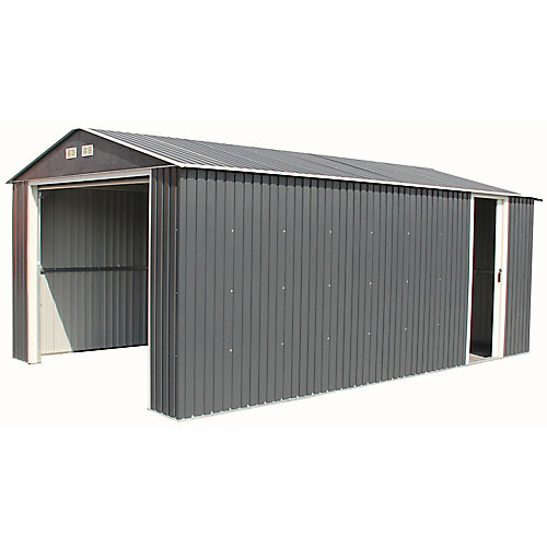 Imperial 12 ft.W x 20 ft.D Galvanized Steel Garage in Dark Gray