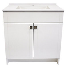 24-inch Vanity in White with Cultured Marble Top