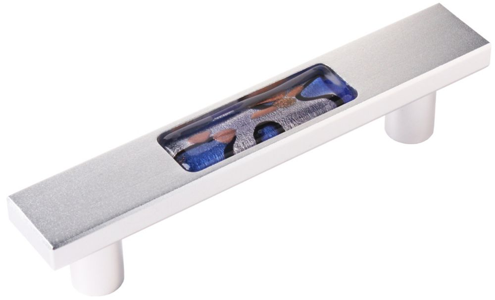 NovaLee 3.75 inch. c/c  96mm c/c Satin Aluminum with Royal Blue Blown Glass insert Drawer Pull