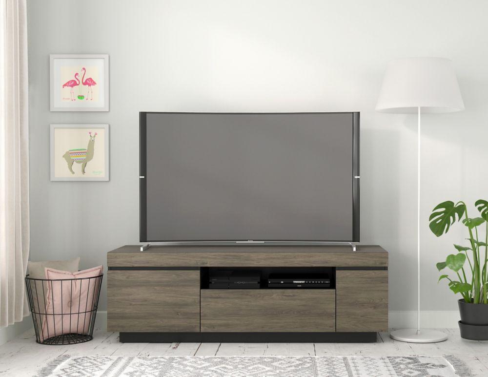 Nexera Lima 60-inch TV Stand, Bark Grey and Black