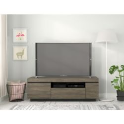 Nexera Lima 60-inch TV Stand, Bark Grey and Black