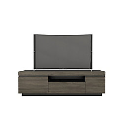 Nexera Lima 68-inch TV Stand, Bark Grey and Black