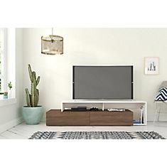 Tonik 72-inch TV Stand, Walnut and White