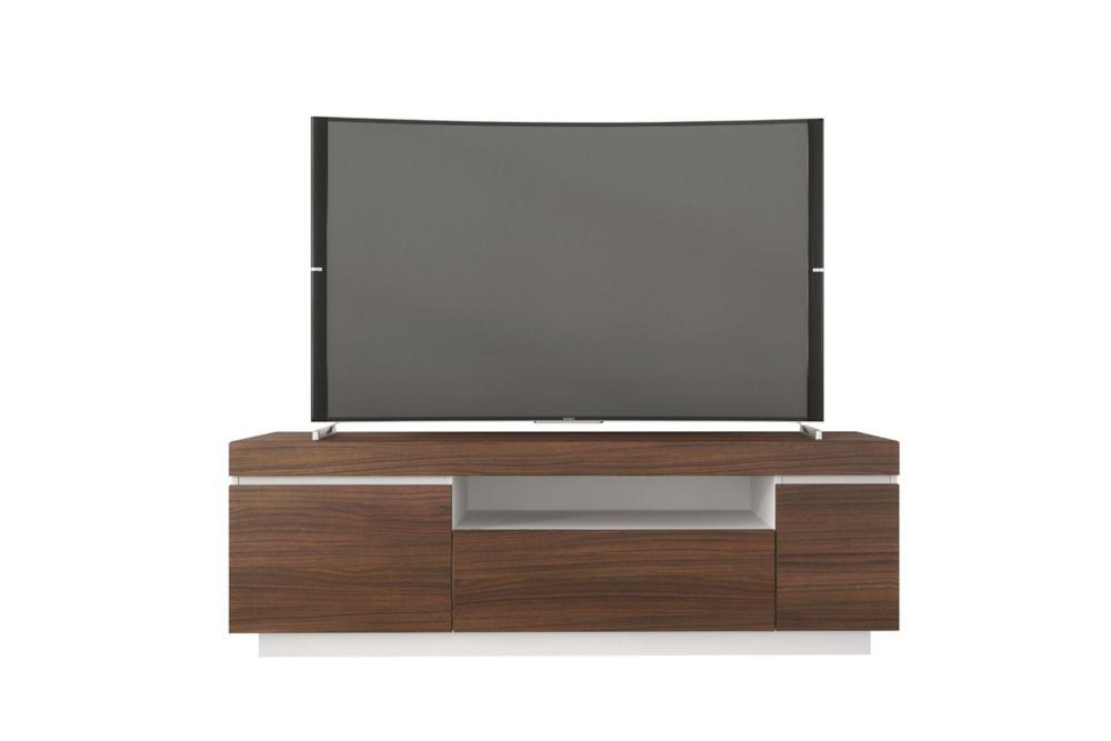 Nexera Cali 60-inch TV Stand, Walnut and White