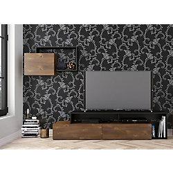 Nexera Paisley 72-inch TV Stand with Wall Shelf, Truffle and Black