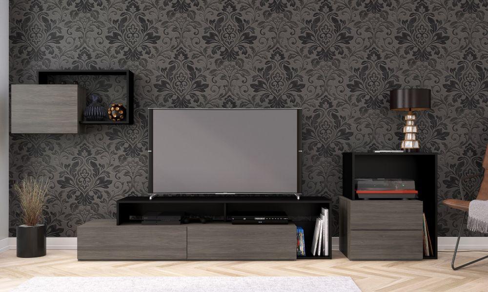 Nexera Damask 3 Piece Entertainment Set, Bark Grey and Black