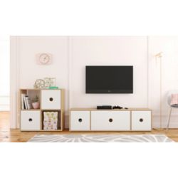 Nexera Domino 60-inch Tv Stand with Bookcase, Natural Maple and White