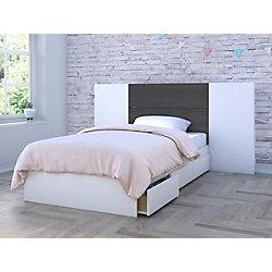 Nexera Cadence Twin Size Bed and Headboard with 2 Extension Panels, White and Ebony