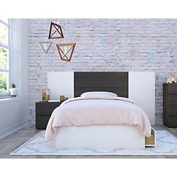Nexera Cadence Twin Size 4-Piece Bedroom Set, Ebony and White