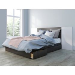 Nexera Alaska Queen Size Bed and Headboard with 2 Extension Panels, White and Ebony