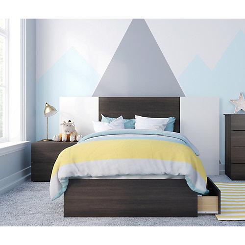 ensemble de chambre à coucher simple 4 pièces Alaska, Ébène et Blanc