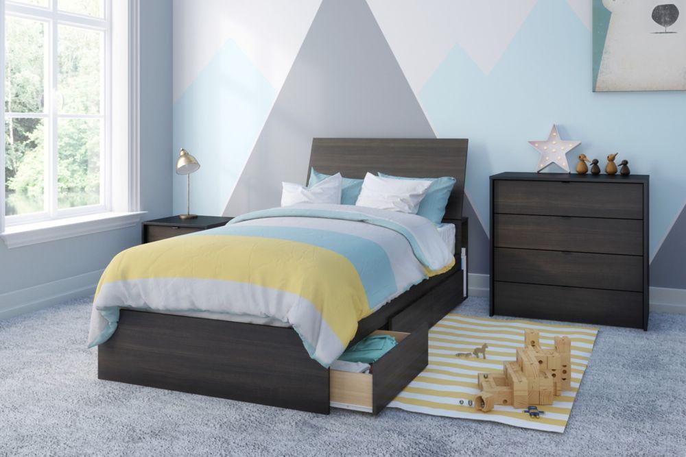 Nexera Celeste Twin Size 4 Piece Bedroom Kit, Black and Ebony