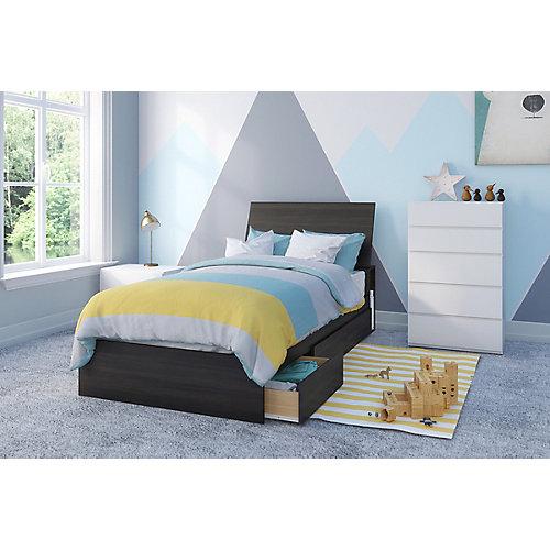 ensemble de chambre à coucher simple 4 pièces Iris, Ébène et Blanc