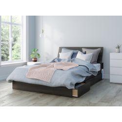 Nexera Iris Queen Size 3-Piece Bedroom Set, Ebony and White