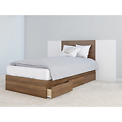 Nexera Hera Twin Size Storage Bed and Headboard with 2 Extension Panels, Walnut and White