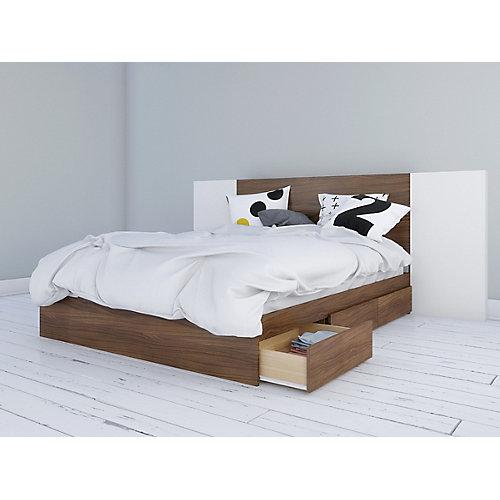 Lit rangement queen et tête de lit Hera avec 2 panneaux extension, Noyer et Blanc