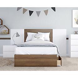 Nexera Hera 4-Piece Twin Bedroom Set, Walnut and White
