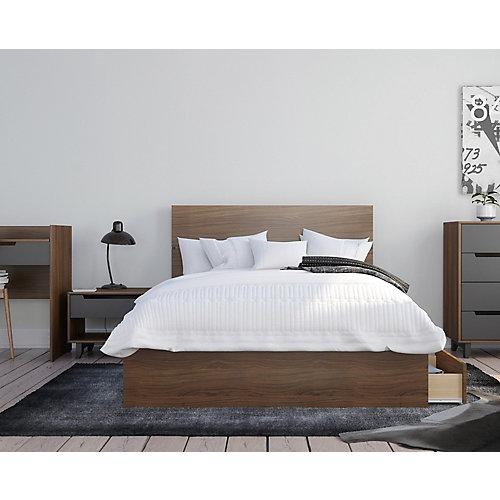 ensemble de chambre à coucher double 3 pièces Mystik, Noyer et gris charbon