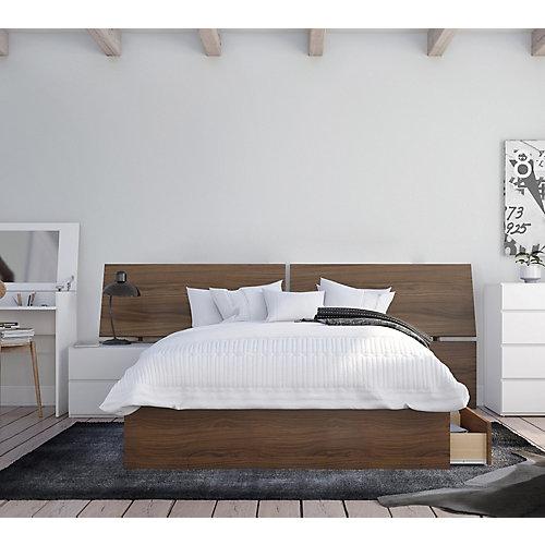 ensemble de chambre à coucher double 3 pièces Oddense, Noyer et Blanc