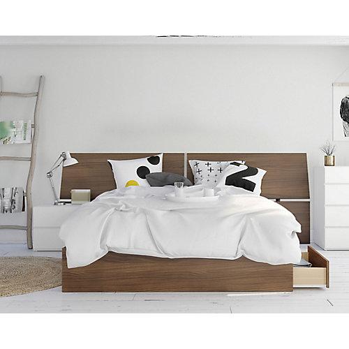 ensemble de chambre à coucher queen 3 pièces Oddense, Noyer et Blanc