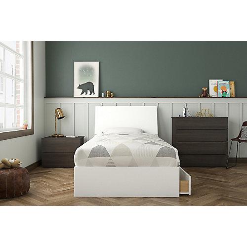 ensemble de chambre à coucher simple 4 pièces Icon, Ébène et Blanc