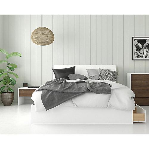 ensemble de chambre à coucher queen 3 pièces Sahara, Blanc et Noyer