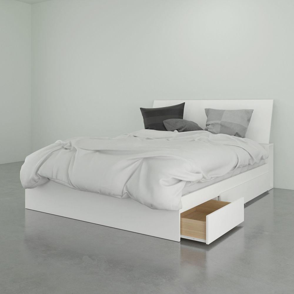 Nexera BLVD Queen Storage Bed with Headboard, White