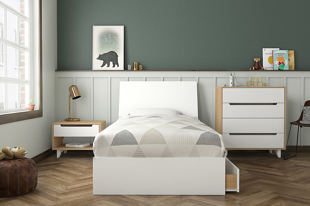 Radiance 4 Piece Twin Bedroom Set Natural Maple And White