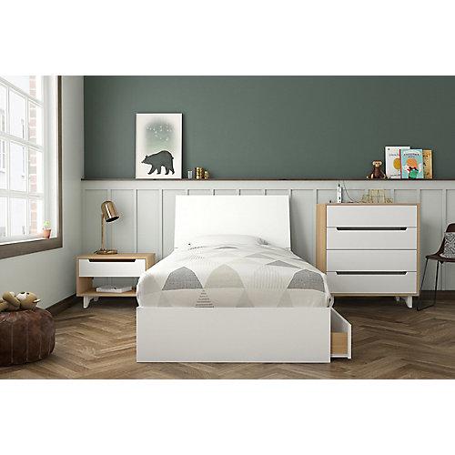 ensemble de chambre à coucher simple 4 pièces Radiance, Érable naturel et Blanc