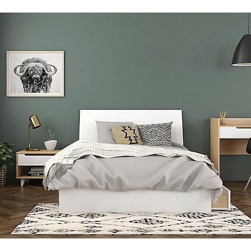 ensemble de chambre à coucher double 3 pièces Radiance, Érable naturel et Blanc