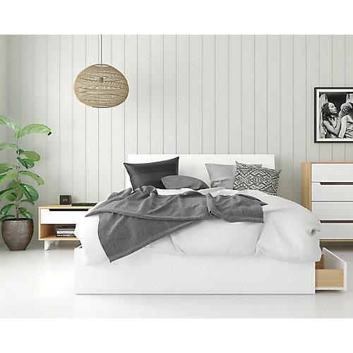 ensemble de chambre à coucher queen 3 pièces Radiance, Érable naturel et Blanc