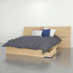 Nexera Kabane Full Storage Bed with Headboard in Natural Maple