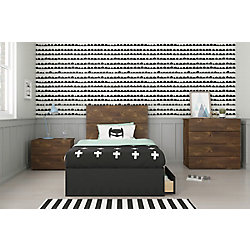 Nexera Bogota Twin Bedroom Set, Truffle & Black