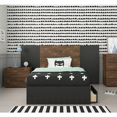 Ensemble de chambre à coucher simple 4 pièces Bogota, Truffe et Noir