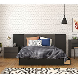 Nexera Evoque 4-Piece Full Size Bedroom Set, Ebony & Black
