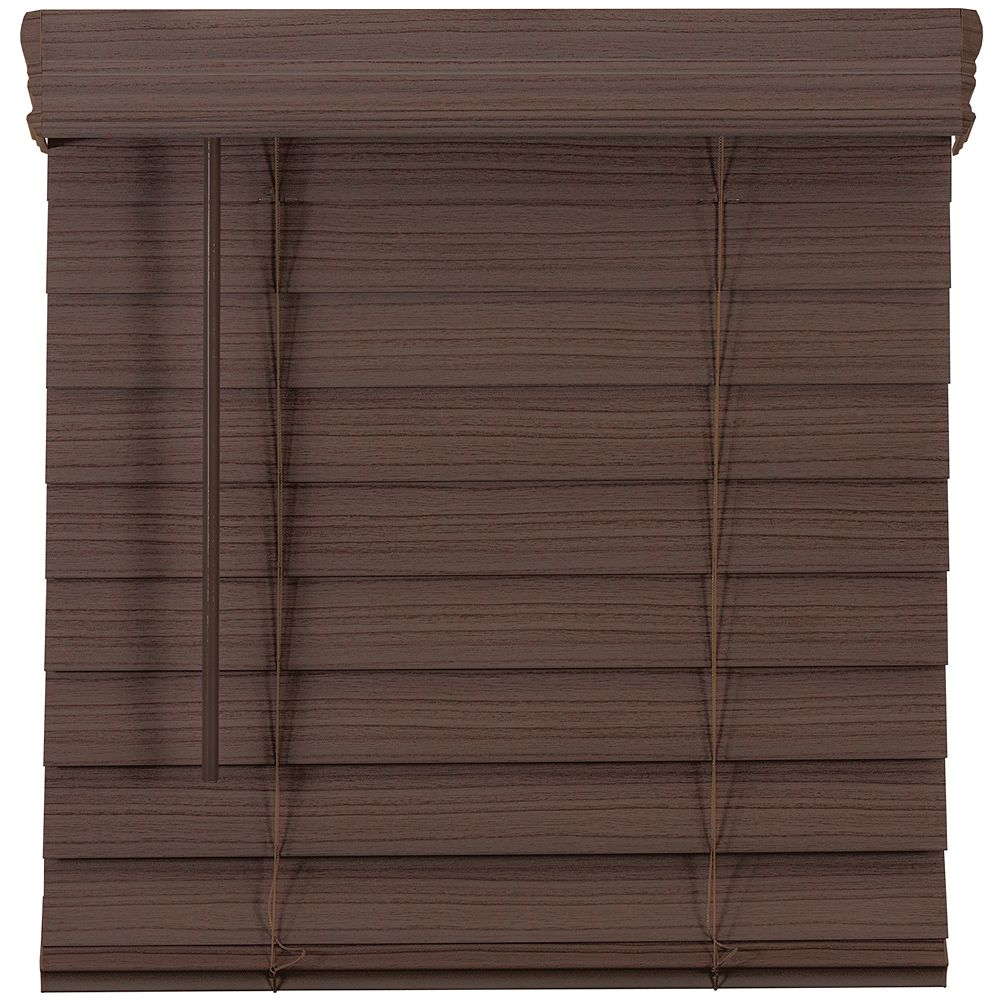 Home Decorators Collection 2.5-inch Cordless Premium Faux Wood Blind Espresso 62.75-inch x 48-inch