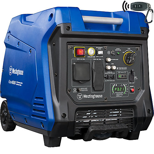 4,500/3,700-Watt Super Quiet Gas Powered Inverter Generator with LED Display, Push Button Start and Remote Start