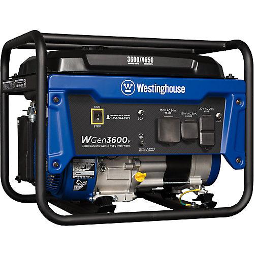 4,650/3,600-Watt Gasoline Powered RV-Ready Portable Generator with Automatic Low Oil Shutdown