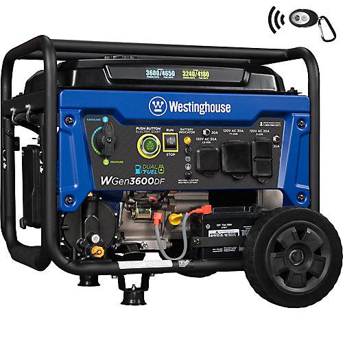 4,650/3,600-Watt Dual Fuel Gasoline or Propane Powered RV-Read Portable Generator with Remote Start