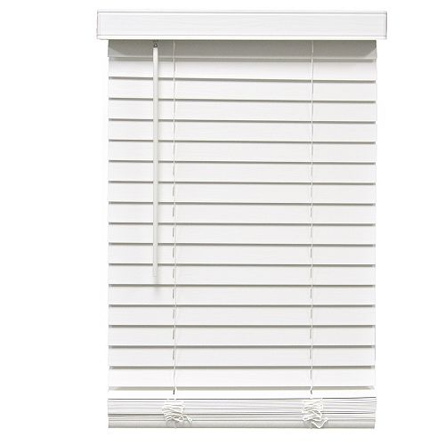 Home Decorators Collection 2-inch Cordless Faux Wood Blind White 57-inch x 48-inch